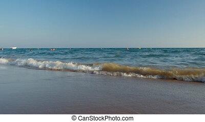 mały, plaża., dziewczyna