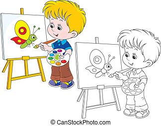mały, pociąga, artysta