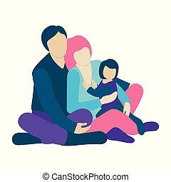 mały, podłoga, koźlę, rodzina, posiedzenie