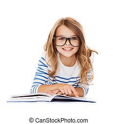 mały, podłoga, student, uśmiechnięta dziewczyna, leżący