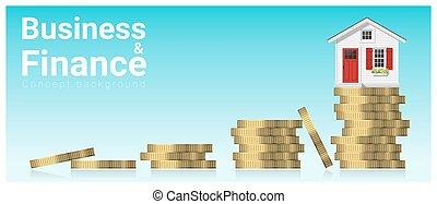 mały, pojęcie, finanse, handlowy, dom, 1, tło