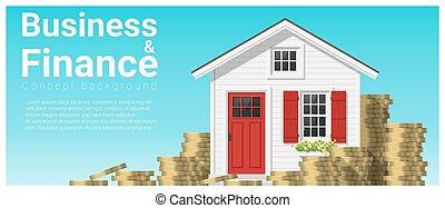 mały, pojęcie, finanse, handlowy, dom, 2, tło