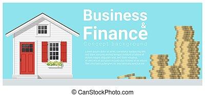 mały, pojęcie, finanse, handlowy, dom, 3, tło