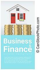 mały, pojęcie, finanse, handlowy, dom, 5, tło
