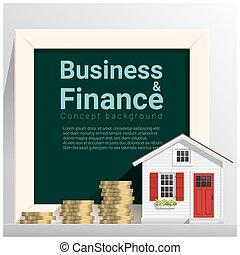 mały, pojęcie, finanse, handlowy, dom, tło