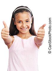 mały, pokaz, do góry, dziewczyna, kciuki