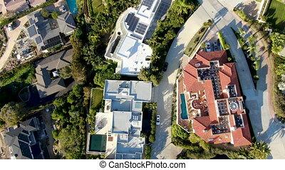 mały, pool., wille, bogaty, la, prospekt, pływacki, jolla, coastline, antena, miasto