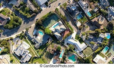 mały, pool., wille, górny, antena, bogaty, la, prospekt, ...