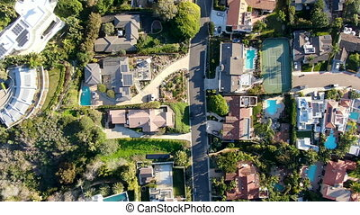 mały, pool., wille, górny, antena, bogaty, la, prospekt, pływacki, coastline, jolla, miasto