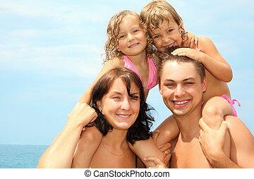 mały, posiedzenie, dziewczyny, ojciec, dwa, woda, ich, oni, ...