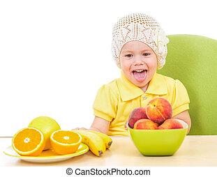 mały, posiedzenie, zdrowy, odizolowany, jadło, stół, dziewczyna, biały