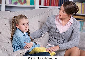 mały, psycholog, dziewczyna, dziecko