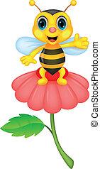 mały, pszczoła, sprytny, potok, rysunek, czerwony