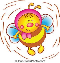 mały, pszczoła, w, niejaki, szalik, na, niejaki, biały, tło.