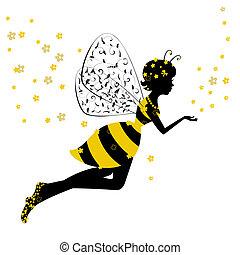 mały, pszczoła, wróżka, dziewczyna