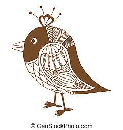 mały, ptak, ilustracja