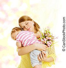 mały, rodzina, kwiaty, macierz, niemowlę, portret, koźlę