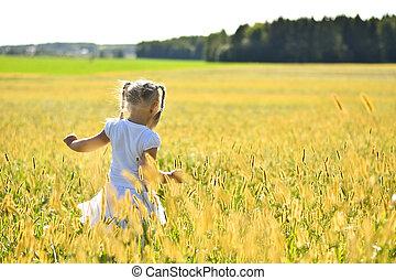 mały, romantyk, dziewczyna, pieszy, patrząc, pole, na dół, biały, trawa, strój, zachód słońca, tylny prospekt