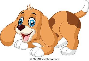 Mały, rysunek, pies, sprytny. Wektor, sprytny, mały, rysunek, pies,  ilustracja. | CanStock