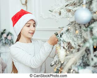 mały, santa kapelusz, uśmiechnięta dziewczyna