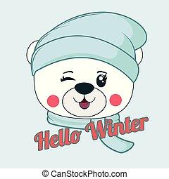 mały, scarf., korona, rysunek, niedźwiedź, szczęśliwy, błękitny, trykotowy