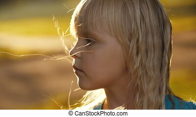 mały, smutny, dziewczyna, natura
