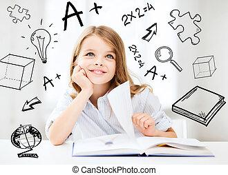 mały, student, dziewczyna, badając, na, szkoła