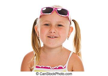 mały, sunglasses, dziewczyna