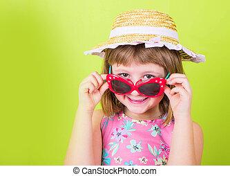 mały, sunglasses, słoma, uśmiechanie się, kapelusz, dziewczyna