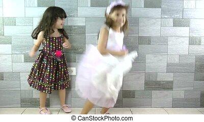mały, szczęśliwy, dziewczyny, taniec