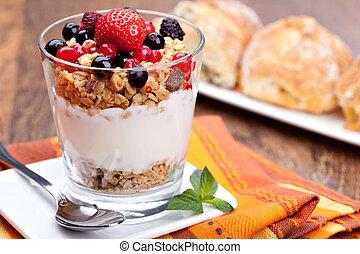 mały, szkło, jogurt, jagody, muesli