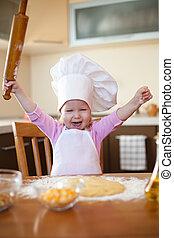 mały, szpilka, ciasto, kołyszący, dziewczyna, marki, kuchnia
