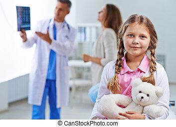 mały, szpital, dziewczyna