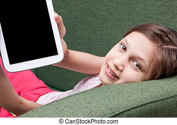 mały, tabliczka, ekran, na, dziewczyna, pokaz