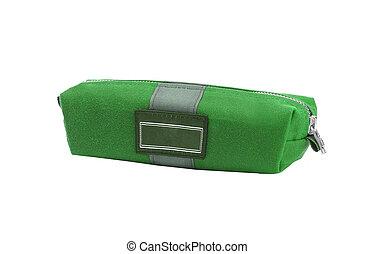 mały, torba, biały, zielony, odizolowany