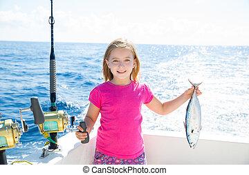 mały, tunny, wędkarski, blond, haczyk, tuńczyk, koźlę, dziewczyna, szczęśliwy