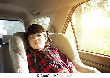 mały, wóz, sypialne dziecko, dziewczyna, miejsce