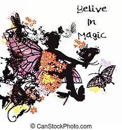 mały, wróżka, dziewczyna, ilustracja, motyle, dookoła, kwiat, jej, strój