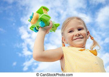 mały, zabawka, dziewczyna, samolot, siła robocza