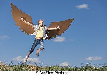 mały, zabawka, park, interpretacja, time., dziewczyna, tektura, skrzydełka, dzień