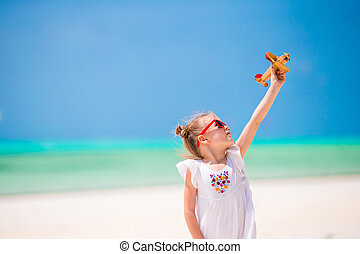 mały, zabawka, plaża, tropikalny, siła robocza, biały, godny podziwu, dziewczyna, samolot