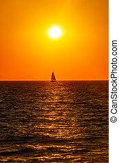 mały, zachód słońca, łódka, morze