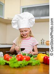 mały, zdrowe jadło, przygotowując, dziewczyna, kuchnia