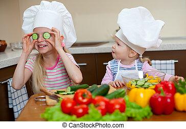 mały, zdrowy, dziewczyny, dwa, jadło, przygotowując, kuchnia