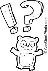 mały, zdziwiony, niedźwiedź, rysunek