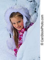 mały, zima, snow., los, dziecko, dziewczyna, odzież