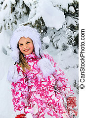 mały, zima, snow., portret, dziewczyna, koźlę, spadanie, odzież