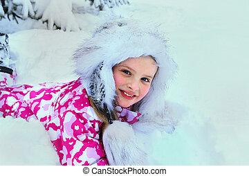 mały, zima, snow., spadanie, odzież, dziewczyna, koźlę