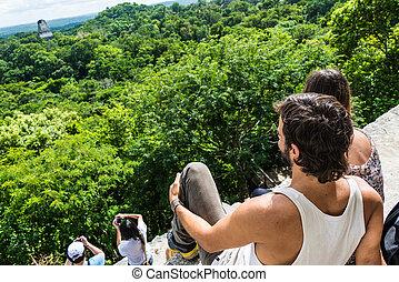 ma, 観光客, 写真を撮る, rainforest, 楽しむ, 光景