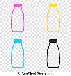 ma, iconen, teken., melk, cmyk, achtergrond., fles, transparant, cyan